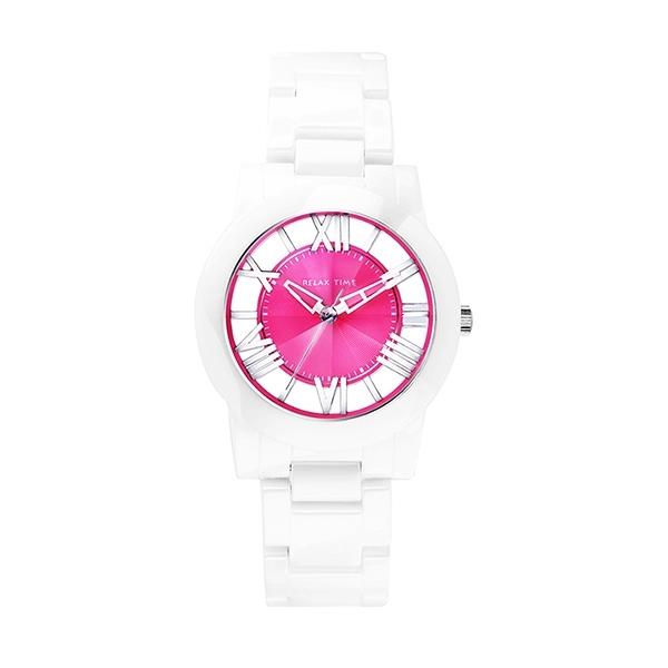 【Relax Time】Diamond羅馬鏤空時尚陶瓷腕錶-蜜桃紅/RT-53-5/台灣總代理公司貨享一年保固