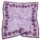 YSL 幾何滿版玫瑰緹花領帕巾(紫色)930004-1