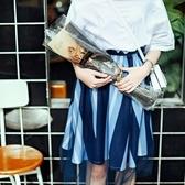 純棉長裙-歐美時尚條紋網紗女裙子73hv8[時尚巴黎]