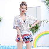 比基尼三四件套泳衣女 性感小胸聚攏遮肚顯瘦韓國學生溫泉游泳衣 DN14682【旅行者】