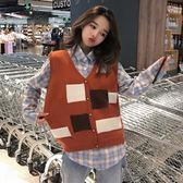針織馬甲女新款秋季韓版寬鬆百搭針織衫無袖背心拼色馬甲上衣學生外套 喵小姐