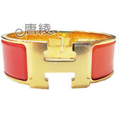【Hermes 愛馬仕】Clic H LOGO琺瑯寬版PM手環(西紅柿橘色X金色 H300001F23)