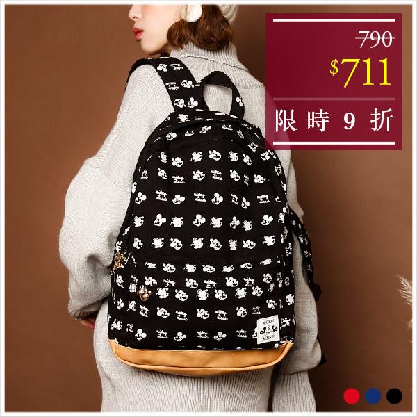 後背包-迪士尼米奇米妮滿版配色帆布後背包-共3色-A12121722-天藍小舖