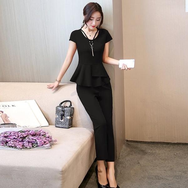 FINDSENSE G5 韓國時尚 修身 顯瘦 短袖 上衣 長褲 兩件套 氣質