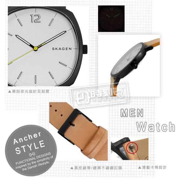 SKAGEN / SKW6379 / Rungsted 摩登時代真皮手錶 銀x黑框x卡其 40mm