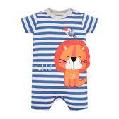 mothercare 藍白條紋獅短袖兔裝-熱帶雨林(M0PH510)03M~12M