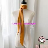 素色細長條窄絲巾女圍巾小領巾腰帶發帶綁包絲帶飄帶【桃可可服飾】