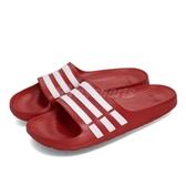 adidas 拖鞋 Duramo Slide 紅 白 一片拖 防水 三條線 男鞋 女鞋【PUMP306】 G15886