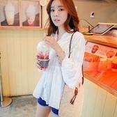 *初心*韓系 純色 立領 V領 棉麻 襯衫 上衣 喇叭袖 七分袖 C336LE