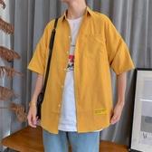 短袖襯衫男休閑夏季韓版潮流帥氣工裝五分袖男士襯衣七分外套百搭