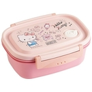 〔小禮堂〕Hello Kitty 日製輕量方形雙面扣便當盒《粉白.珠寶盒》550ml.保鮮盒.食物盒 4973307-49575