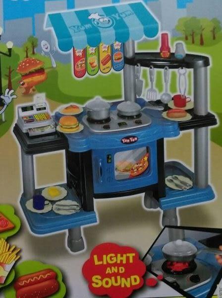 *粉粉寶貝玩具*豪華收銀烹飪雙面廚房組~多功能快餐台~有燈光音效~