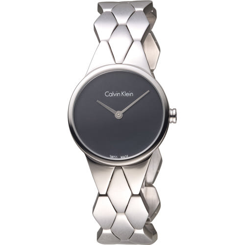 CK Calvin Klein 立體格菱時尚腕錶 K6E23141 黑
