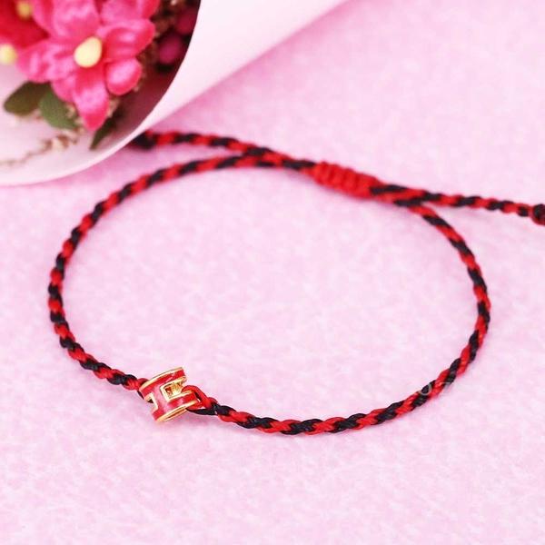 紅磨坊(紅)-經典H黃金手鍊-絲質蠟線編織手鍊