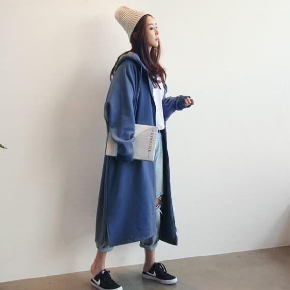 梨卡★現貨 -【韓國製】韓版設計感寬鬆連帽拉鍊中長版加絨風衣外套/4色BR164