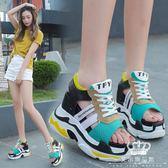 厚底涼鞋 女夏百搭韓版坡跟松糕羅馬鞋超高跟鏤空魚嘴涼鞋