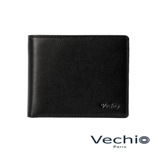 【VECHIO】紳士商務款II-經典素面皮革4卡零錢袋皮夾(時尚黑)VE038W06BK