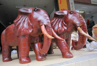 紅/花梨木60公分大象 吉祥如意招財  木雕擺件
