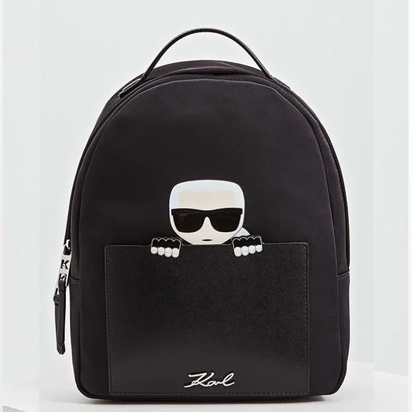 Karl Lagerfeld 卡爾 老佛爺  包包 IKONIK偷窺尼龍後背包-黑
