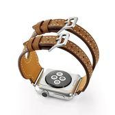 錶帶apple watch真皮錶帶蘋果iwatch雙扣手錶帶1/2/3代38/42mm 桃園百貨