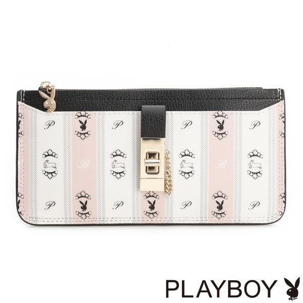 PLAYBOY- 橫式拉鍊長夾 Sweet Girl 甜蜜粉躍兔系列-甜粉色