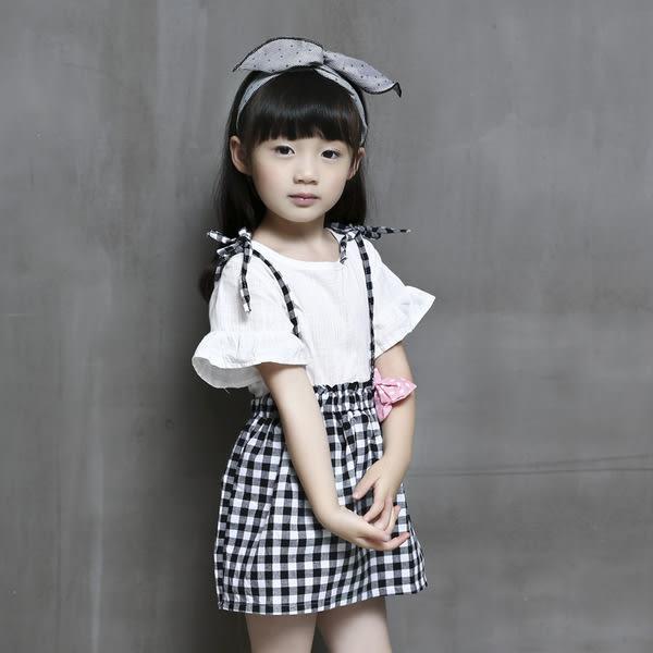 黑白格紋女童洋裝
