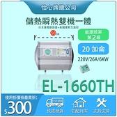 【怡心牌】 總公司貨 EL-1660TH電熱水器 套房/房客機 洗熱水不用等 20加侖熱水器 全機防水IPX5