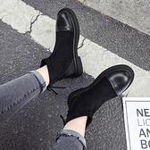 黑色鬆緊口小短靴女士潮網紅秋季馬丁靴英倫風彈力靴子網紅瘦瘦靴 伊衫風尚