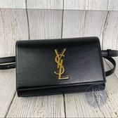 BRAND楓月 SAINT LAURENT YSL 534395 經典 金logo 黑色 皮革 釦式 腰包