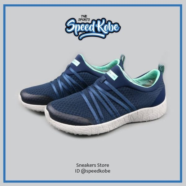SKECHERS 健走鞋 Burst 懶人鞋 深藍蒂綠 緞帶 女 12735NVAQ【Speedkobe】