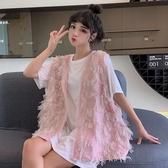 背心 韓版新款寬鬆V領外穿純色薄款設計感洋氣流蘇女學生 - 紓困振興~~全館免運
