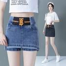 時尚短裙 牛仔短褲裙女2021夏新款鬆緊高腰顯瘦前裙后褲假兩件半身包臀裙子