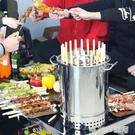 木炭燒烤爐家用室內無煙碳烤肉串機戶外小型不銹鋼吊烤架全套用具MBS『「時尚彩紅屋」