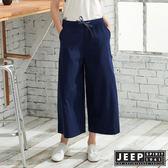 【JEEP】女裝 棉麻休閒八分寬褲-深藍色