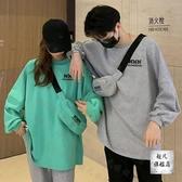 情侶T 網紅寬鬆長袖連帽T恤女韓版年秋季新款字母印花情侶裝炸街上衣潮-快速出貨