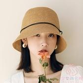 草帽女夏防曬可折疊遮臉帽日系太陽帽小沿遮陽漁夫帽【少女顏究院】