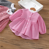 女童格子襯衫長袖洋氣上衣韓版新款秋裝小童潮裝娃娃衫1-3歲