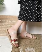 涼鞋女新款網紅夏季仙女風潮兩穿平底百搭學生草莓涼拖鞋聖誕交換禮物