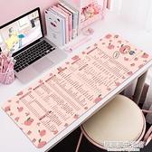 粉色快捷鍵桌墊超大號滑鼠墊辦公寫字筆記本電腦鍵盤可愛女生卡通 居家家生活館