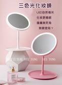 【億達百貨】20325美妝鏡 LED燈化妝鏡 多功能 小夜燈 隨身鏡子 桌面補妝鏡 三色調光 現貨