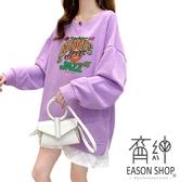 EASON SHOP(GW8305)實拍OVERSIZE假兩件卡通字母印花側開衩落肩長袖素色棉T恤裙大尺碼女上衣服連身裙