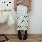 東京著衣-tokichoi-氣質姐姐腰鬆緊後開岔磨毛針織長裙(191759)
