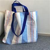編制包 ins簡約休閒百搭編織購物袋手提單肩包女包【韓國時尚週】