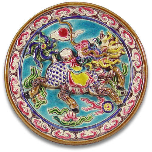 鹿港窯-交趾陶居家開運裝飾壁飾~M玉書麒麟