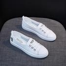 休閒鞋/平底鞋 春款爆款淺口小白女鞋夏季薄款懶人一腳蹬板鞋新款休閒百搭