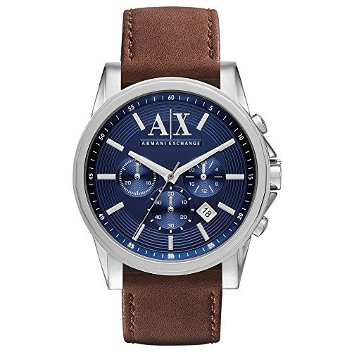 ARMANI AX亞曼尼 藍錶盤皮革男錶 AX2501經典款式 男錶女錶對錶情侶錶 送禮