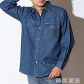 牛仔襯衫男長袖中年秋季爸爸裝大碼寬鬆常規純棉外套工作服上衣衫 時尚潮流