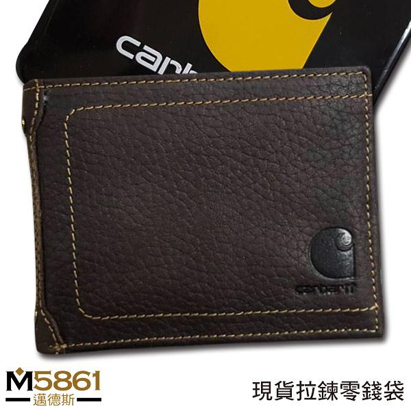【Carhartt】男皮夾 短夾 牛皮夾 拉鍊零錢袋 獨立卡夾 大鈔夾 經典鐵盒裝/咖色