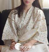 日系睡衣-純棉布和服短袖睡衣套裝系帶家居汗蒸服女和風甚平-奇幻樂園
