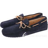 TOD'S Gommino Driving 打洞麂皮編織綁帶豆豆鞋(男鞋/黑夜藍) 1730210-61